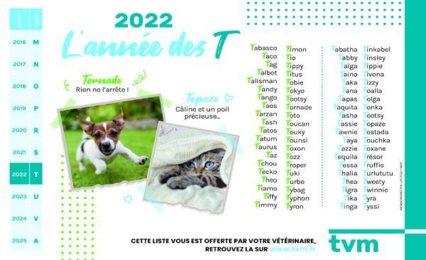 liste des noms en T chiots et chatons 2022