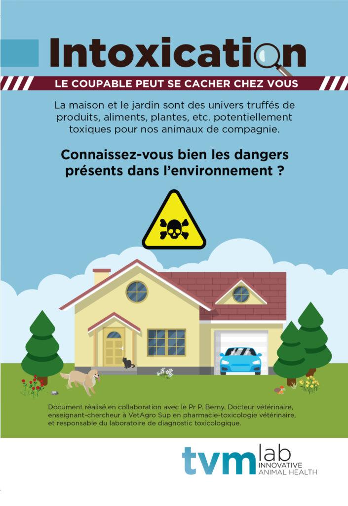 Dépliant présentant une maison et un panneau danger de mort pour illustrer les risques domestiques d'intoxication des chiens et chats